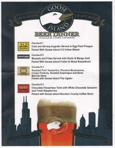 beer dinner menu